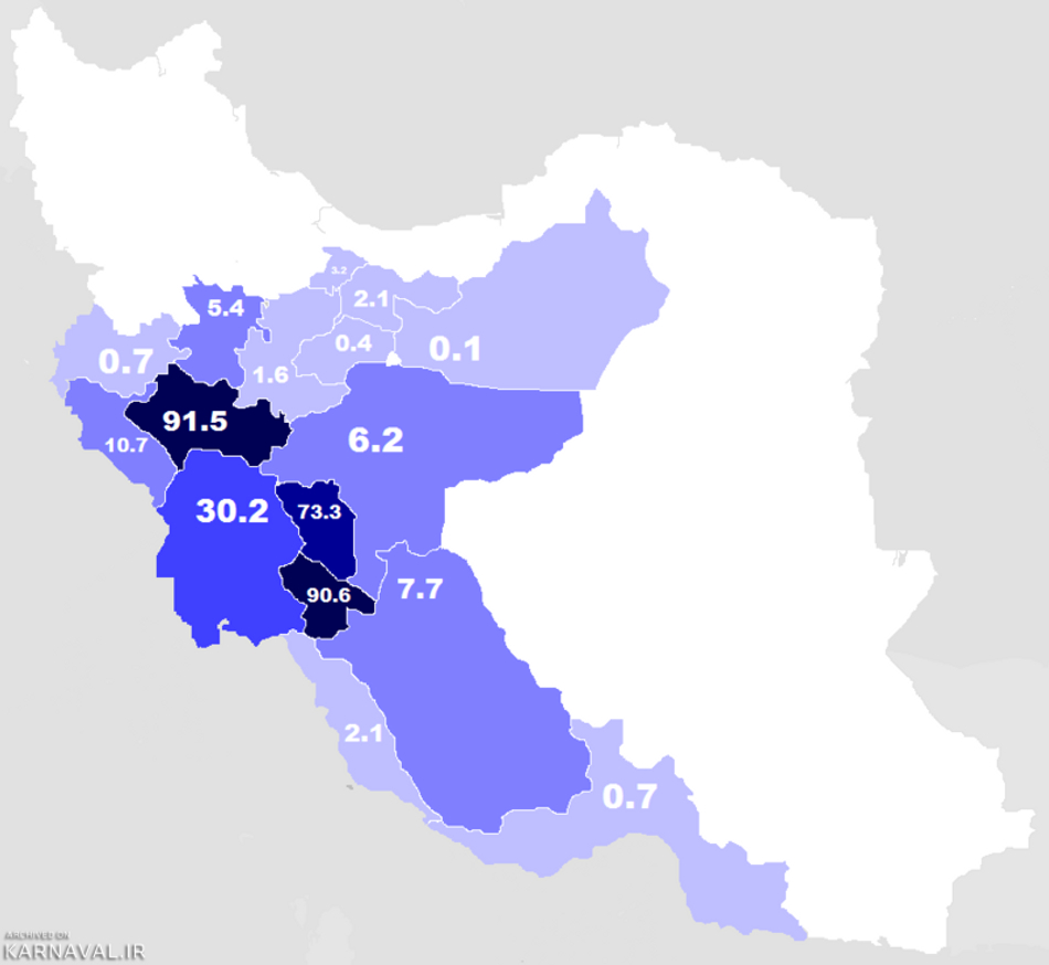 پراکندگی گویشوران زبان لری در ایران | Photo by : Unknown